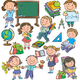 Клипарт на прозрачном фоне - Ученики и школьные принадлежнос...