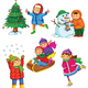 Клипарт для оформления работ - Дети на прогулке зимой