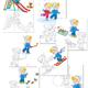 Картинки с раскрасками - Дети зимой