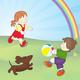 Отрисовка для оформления работ - Дети играют в мячик