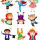 Клипарт на прозрачном фоне - Дети в маскарадных костюмах