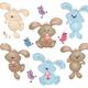 Клипарт на прозрачном фоне - Пасхальные кролики и птички