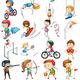 Клипарт на прозрачном фоне - Дети занимаются спортом