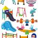 Клипарт на прозрачном фоне - Детская площадка, качели