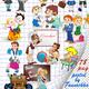 Школьный векторный клипарт – ученики и ученицы