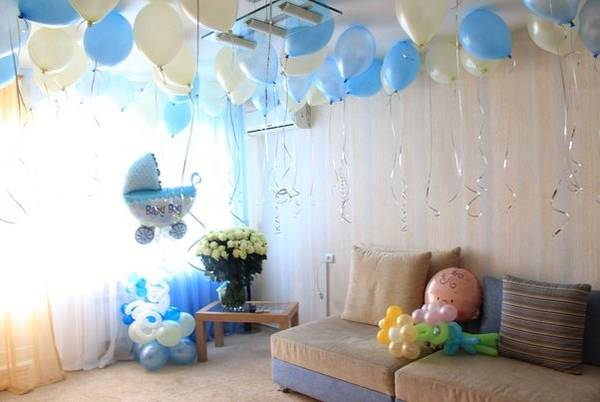 89 Оформление шарами своими руками на рождение ребенка
