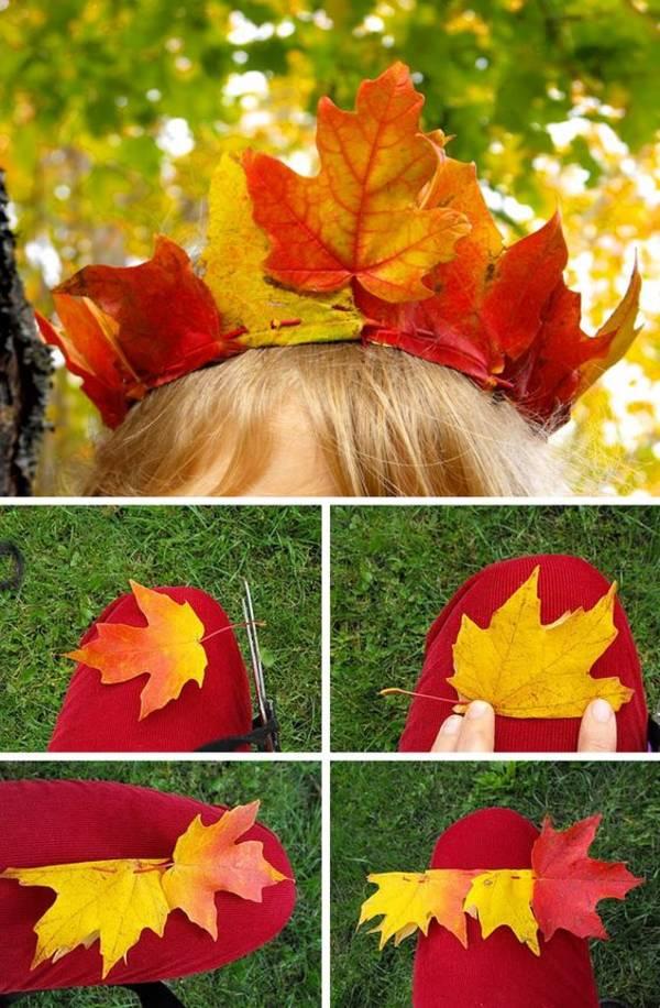 как сделать венок из листьев