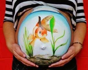 Рисунки на животе у беременных - фото
