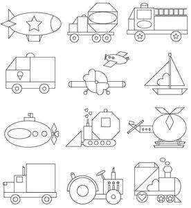 Изучаем геометрические <u>транспорт</u> фигуры и формы. Раскраски Транспорт