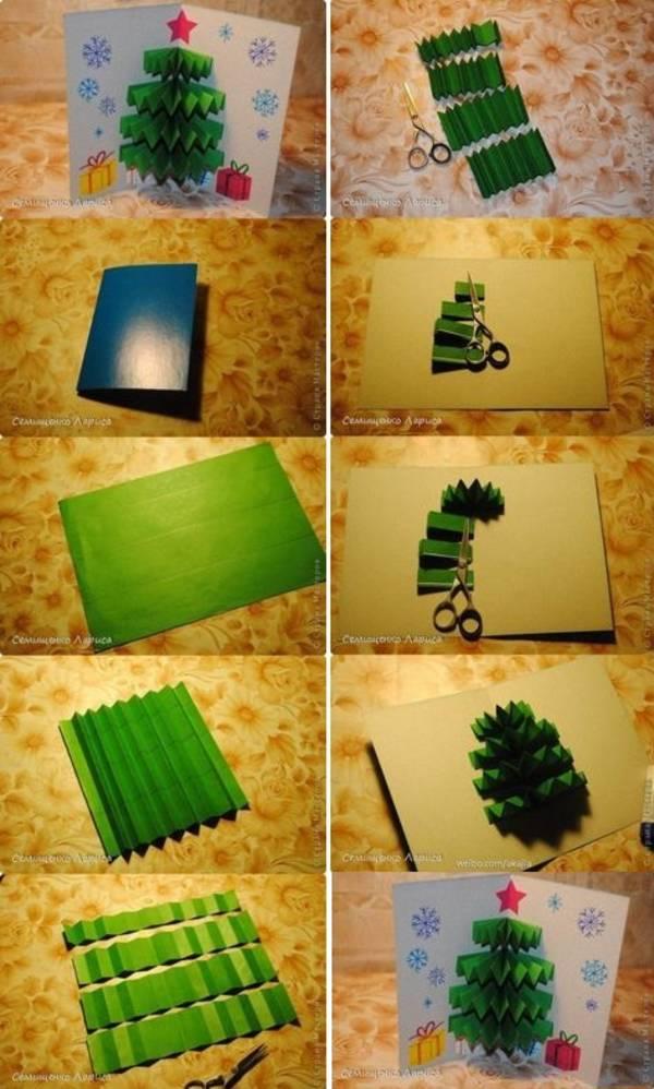 Как сделать елку из бумаги открытку